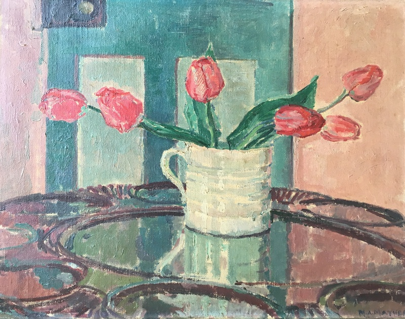 MAUD MATHERS (1890-1921)  INTERIOR WITH STILL LIFE OF FLOWERS  SOLD