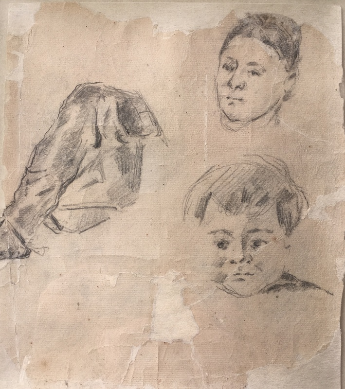 PAUL CÉZANNE (1839-1906)  STUDY OF MADAME CÉZANNE AND THE ARTIST'S SON PAUL, 1873
