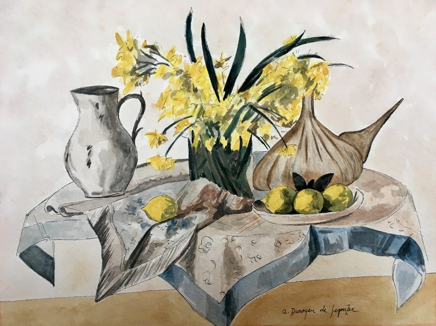 André Dunoyer de Segonzac (1884-1974)  Still life with flowers, fruit and jugs, 1931
