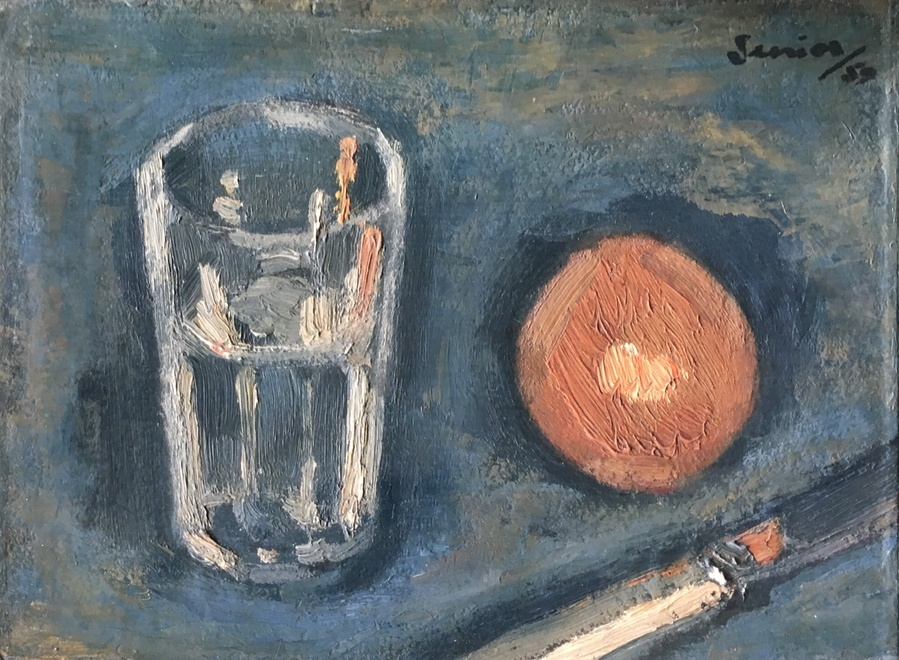 BRYAN SENIOR (b. 1935)  Still Life with Glass, orange and knife, 1959